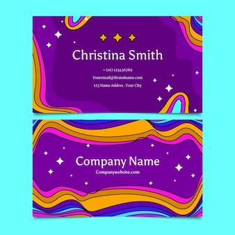 Handgezeichnete groovige psychedelische horizontale visitenkartenvorlage