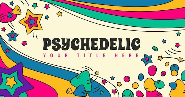 Handgezeichnete groovige psychedelische social-media-post-vorlage
