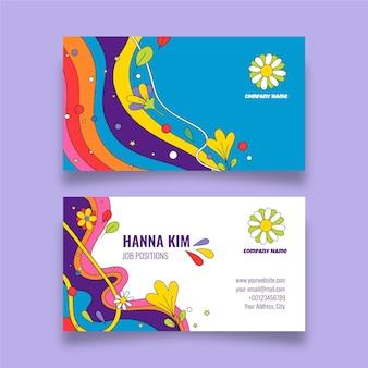Handgezeichnete groovige psychedelische visitenkarten