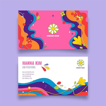 Handgezeichnete groovige psychedelische visitenkartenvorlage