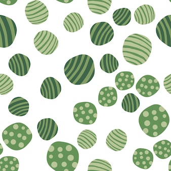 Handgezeichnete grüne steine tapete. kiesel nahtlose muster. abstrakter geometrischer gepunkteter beschaffenheitshintergrund. vektor-illustration