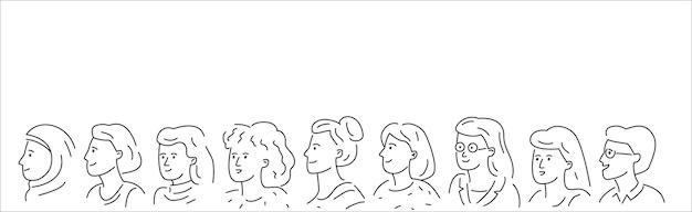 Handgezeichnete gruppe verschiedener frauen. umreißen sie doodle-vektor-illustration.