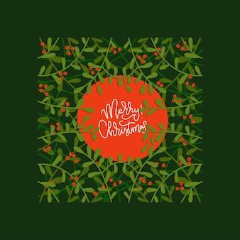 Handgezeichnete grußkarte zu weihnachten mit blumenrahmen laubzweige mit roten beeren flach v...