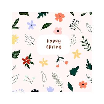 Handgezeichnete hallo frühlingsblumen und blätter auf weißem hintergrund. niedliche skandinavische hygge-stilvorlage für postkarte, grußkarte, t-shirt-design. vektorillustration im flachen cartoon-stil