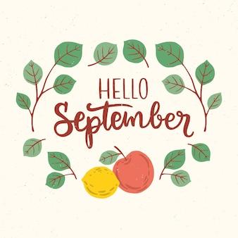 Handgezeichnete hallo september schriftzug