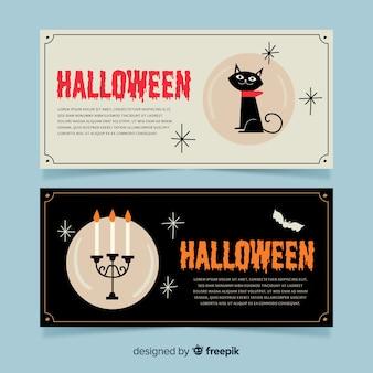 Handgezeichnete halloween banner vorlage