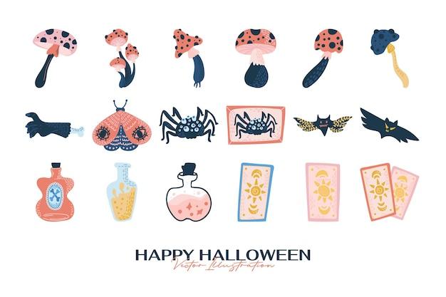 Handgezeichnete halloween-elemente-kollektionen