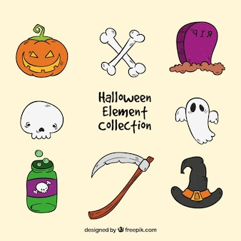 Handgezeichnete halloween-gegenstände