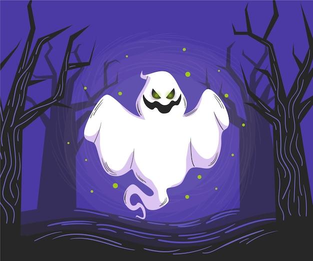 Handgezeichnete halloween-geisterillustration