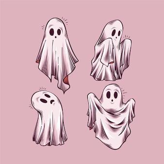 Handgezeichnete halloween-geistersammlung