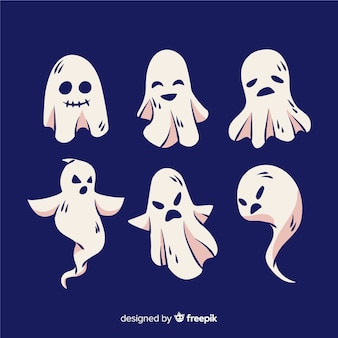 Handgezeichnete halloween ghost collection