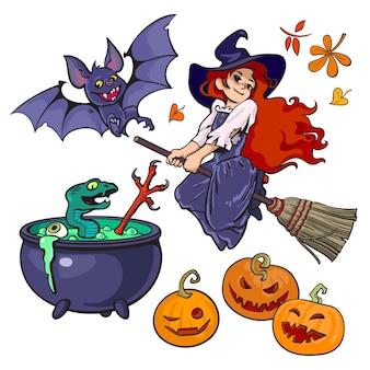 Handgezeichnete halloween hexe fliegt auf besenstiel vampirfledermaus kessel kürbisse