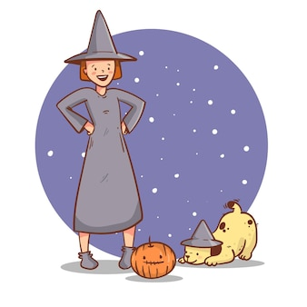 Handgezeichnete halloween-hexe mit hund