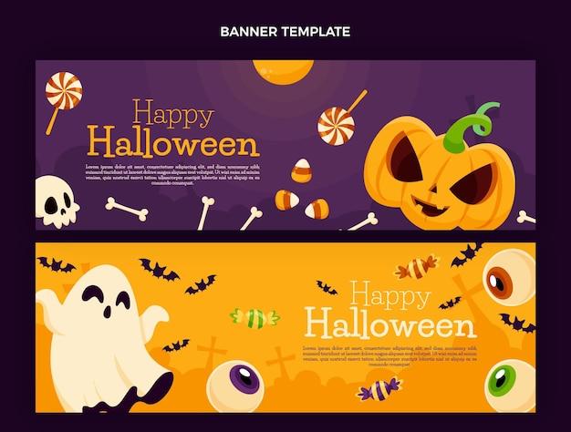 Handgezeichnete halloween horizontale banner eingestellt