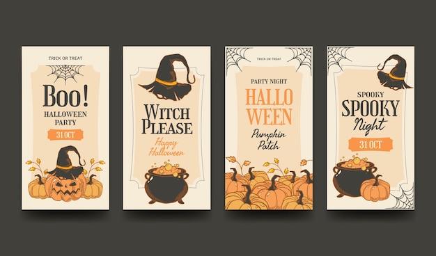 Handgezeichnete halloween-instagram-geschichten-sammlung