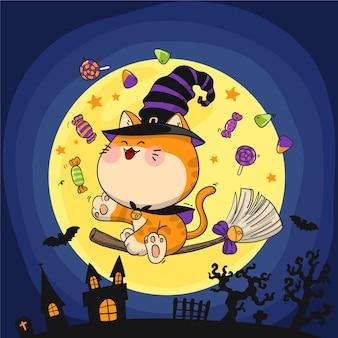 Handgezeichnete halloween-katzenillustration