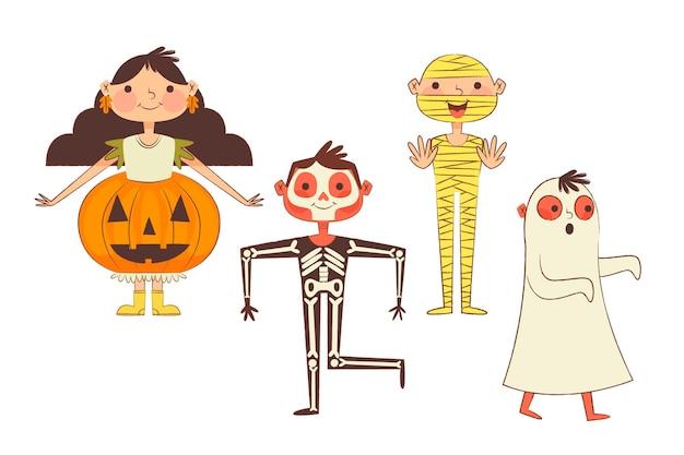 Handgezeichnete halloween-kinderkollektion