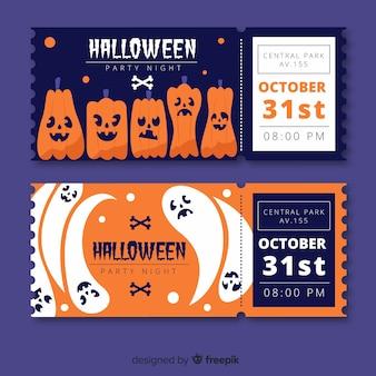 Handgezeichnete halloween kürbis tickets