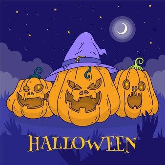 Handgezeichnete halloween-kürbisse-illustration