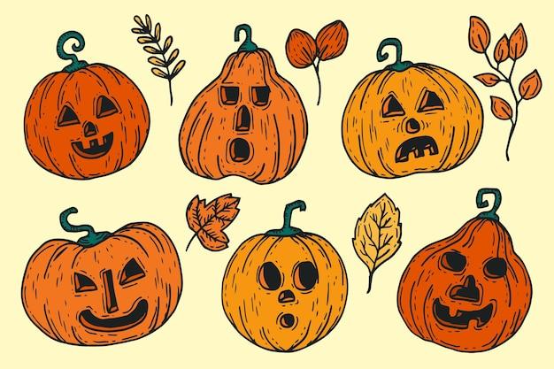 Handgezeichnete halloween-kürbisse-sammlung