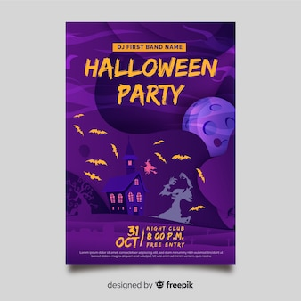 Handgezeichnete halloween party flyer vorlage