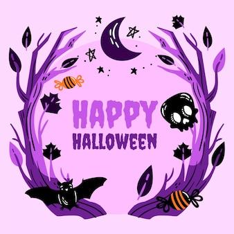 Handgezeichnete halloween-rahmenschablone