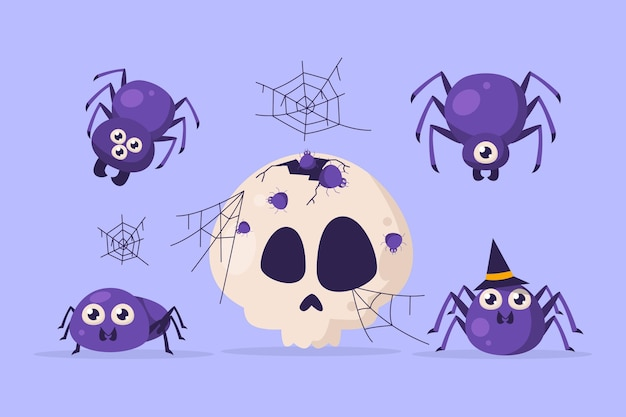 Handgezeichnete halloween-spinnensammlung