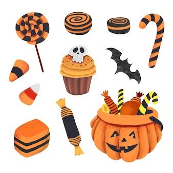 Handgezeichnete halloween-süßigkeiten-sammlung