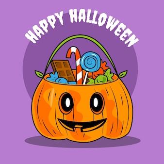 Handgezeichnete halloween-taschenillustration