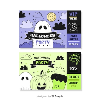 Handgezeichnete halloween-tickets mit gruseligen kreaturen