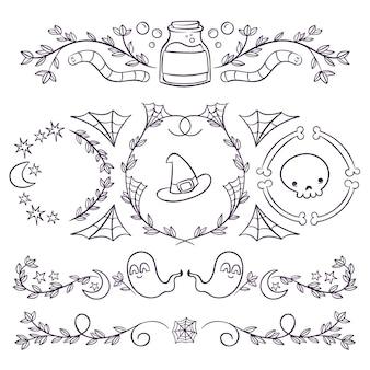 Handgezeichnete haloween-ornamente-sammlung