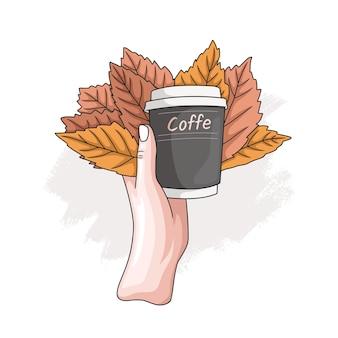 Handgezeichnete hand, die eine tasse kaffee und blätter hält