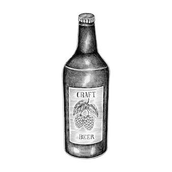 Handgezeichnete handwerk bierflasche