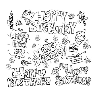 Handgezeichnete happy birthday doodles