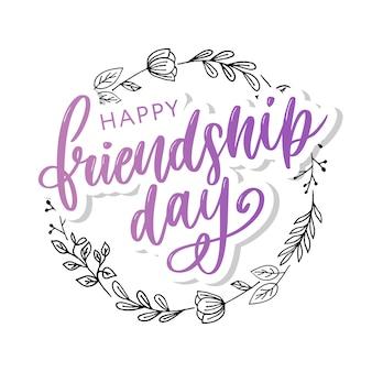 Handgezeichnete happy friendship day glückwunschkarte