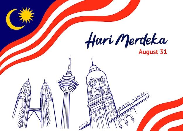 Handgezeichnete hari-merdeka-illustration