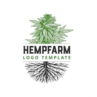 Handgezeichnete hemp farm logo template