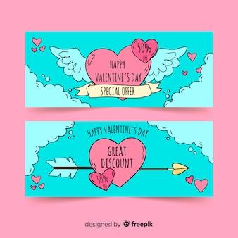 Handgezeichnete herz valentinstag banner