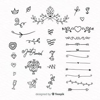 Handgezeichnete hochzeit ornamente sammlung