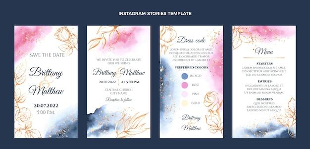 Handgezeichnete hochzeits-instagram-geschichten