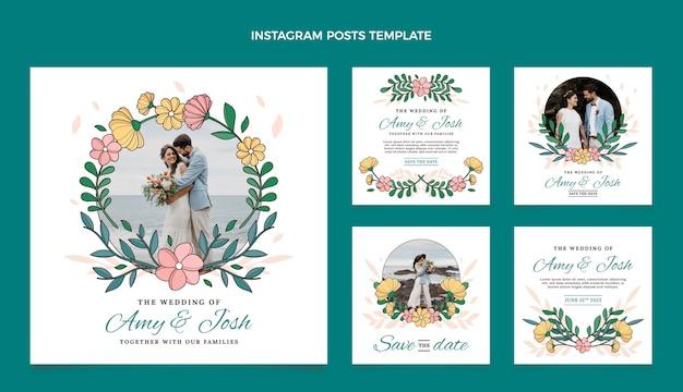 Handgezeichnete hochzeits-instagram-posts-sammlung