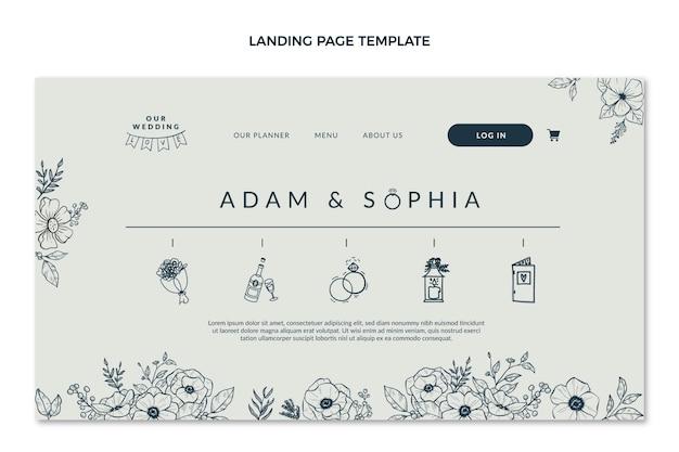Handgezeichnete hochzeits-landingpage