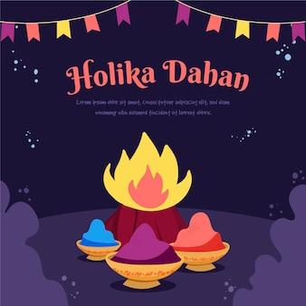 Handgezeichnete holika dahan illustration mit lagerfeuer und girlanden