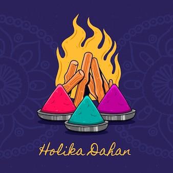 Handgezeichnete holika dahan illustration mit lagerfeuer