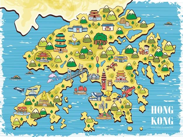 Handgezeichnete hongkong-reisekarte