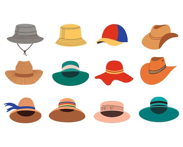 Handgezeichnete hüte-kollektion.