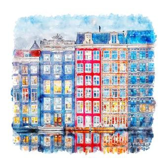 Handgezeichnete illustration der amsterdamer niederlande-aquarellskizze
