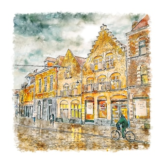 Handgezeichnete illustration der aquarellskizze von lille france