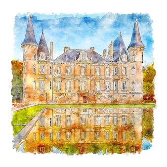 Handgezeichnete illustration der bordeaux-frankreich-aquarellskizze
