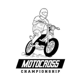 Handgezeichnete illustration der motocross-meisterschaft motorradrennen biker club motorradfahrer